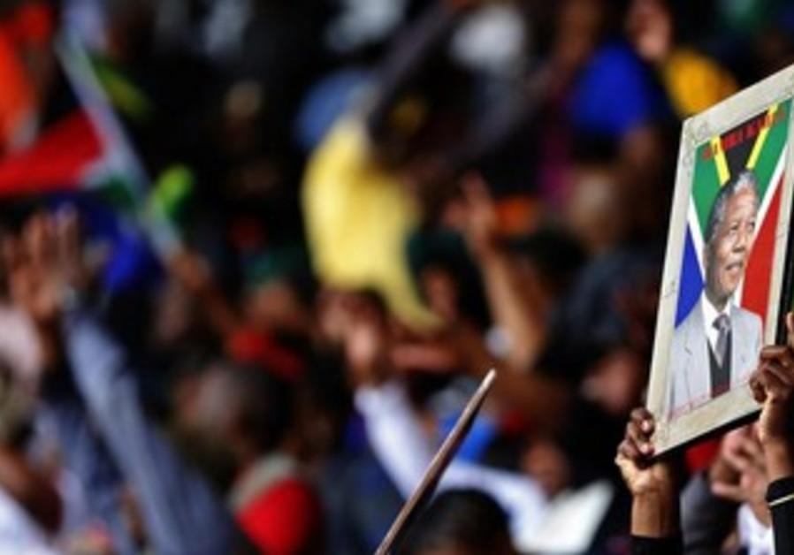 Former South African president Nelson Mandela's national memorial service in Johannesburg.