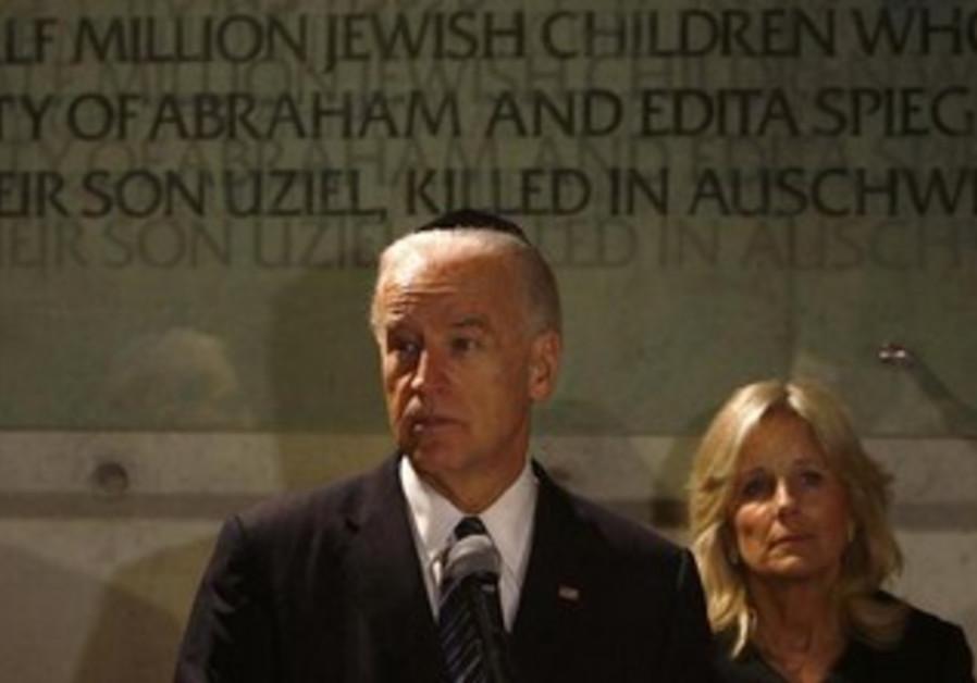 US VP Joe Biden and his wife Jill at Yad Vashem