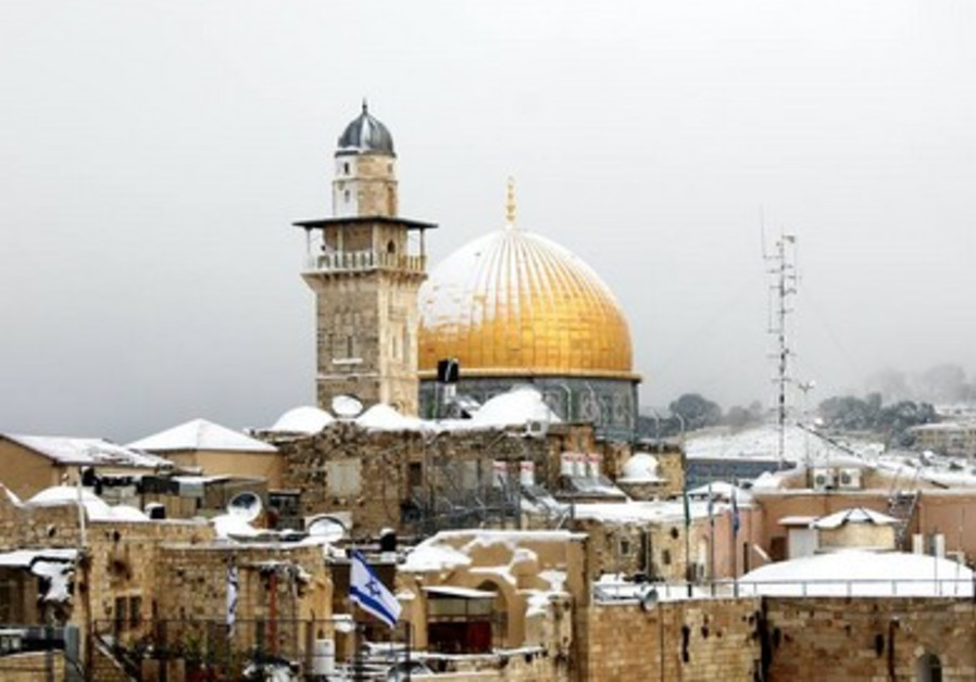 Dome of the Rock covered in snow, Jerusalem,  December 12, 2013.