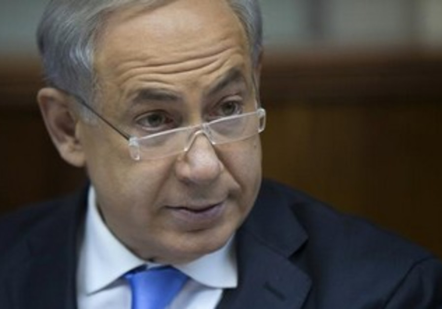 Prime Minister Binyamin Netanyahu at the cabinet meeting