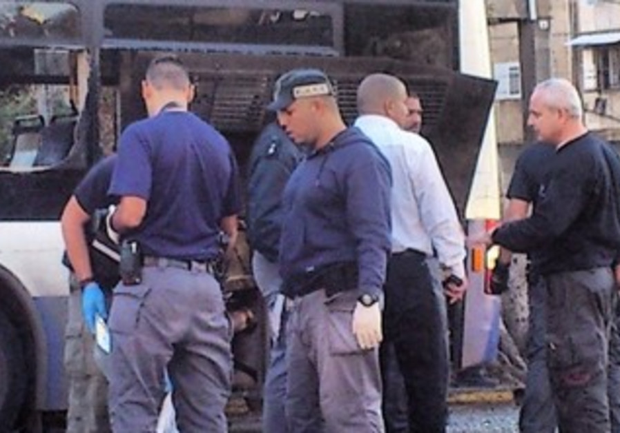 Police on the scene of the explosion in Bat Yam.