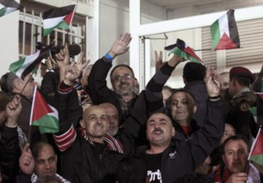 Celebrations in Ramallah as Palestinian prisoners released.