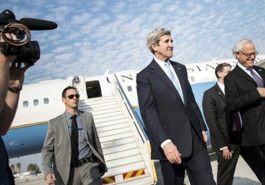 US Secretary of State Kerry and envoy Martin Indyk arrive