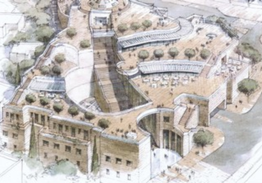 Artist's rendering of the proposed Kedem Compound in the east Jerusalem neighborhood Silwan.