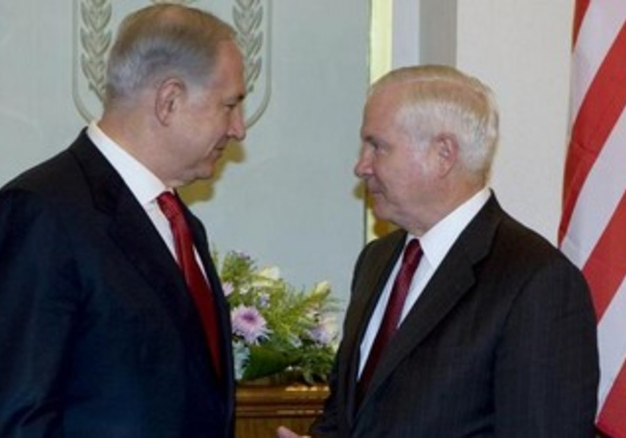 Prime Minister Binyamin Netanyahu meeting with then-US defense secretary Robert Gates, July 27, 2009