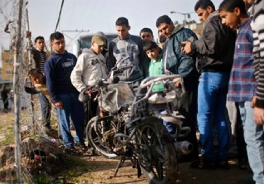 gaza airstrike motorcycle