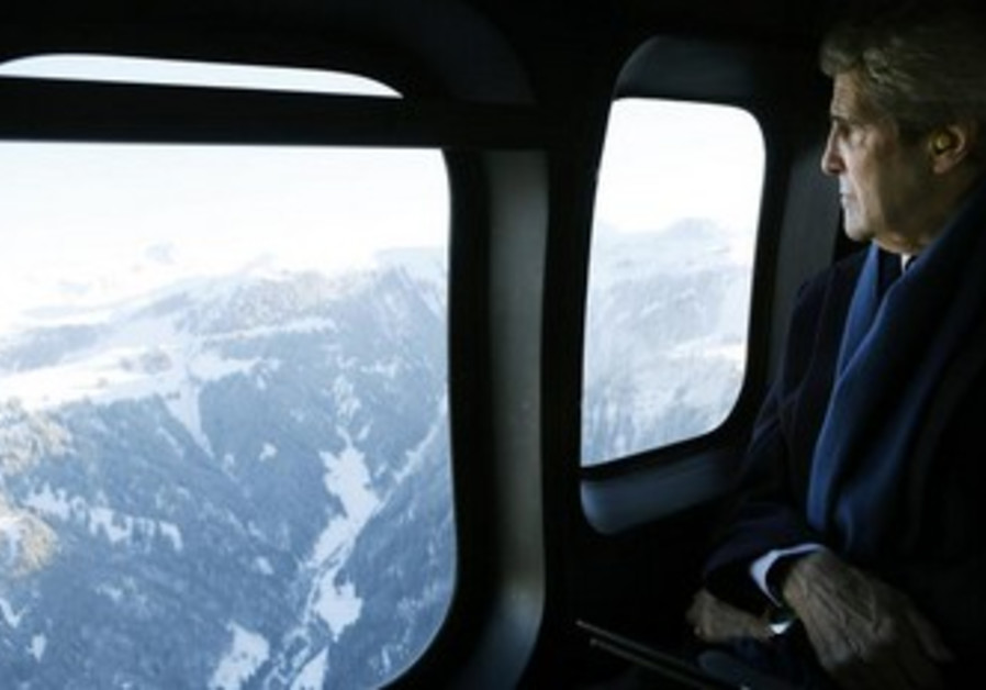 US Secretary of State John Kerry en route to Davos