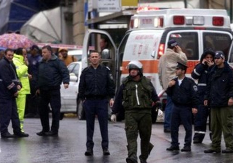 The scene outside the David Citadel Hotel in Jerusalem, Dec. 5, 2001.