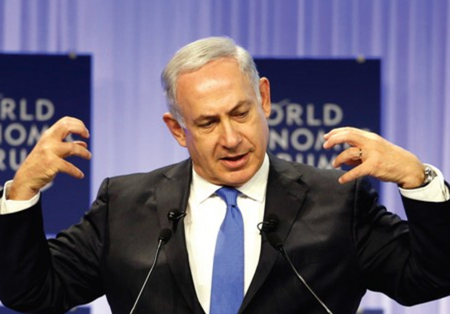 Prime Minister Benjamin Netanyahu speaks during the annual meeting of the World Economic Forum