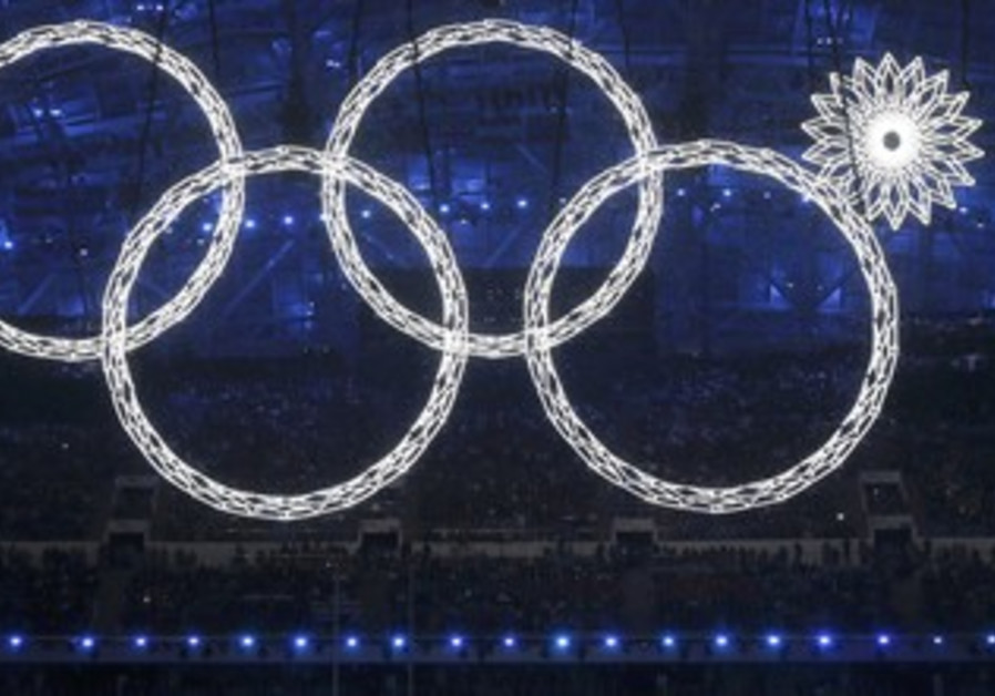 Four Olympic rings, Sochi opening ceremonies.