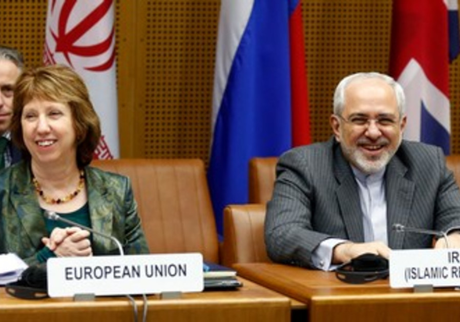 The EU's Ashton and Iran's Zarif in Vienna, February 18, 2014.