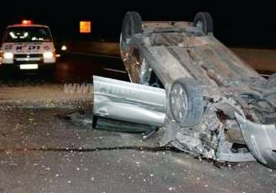 David Sameach was driving along the Geha Road around 3 a.m. after a party, when his car flipped