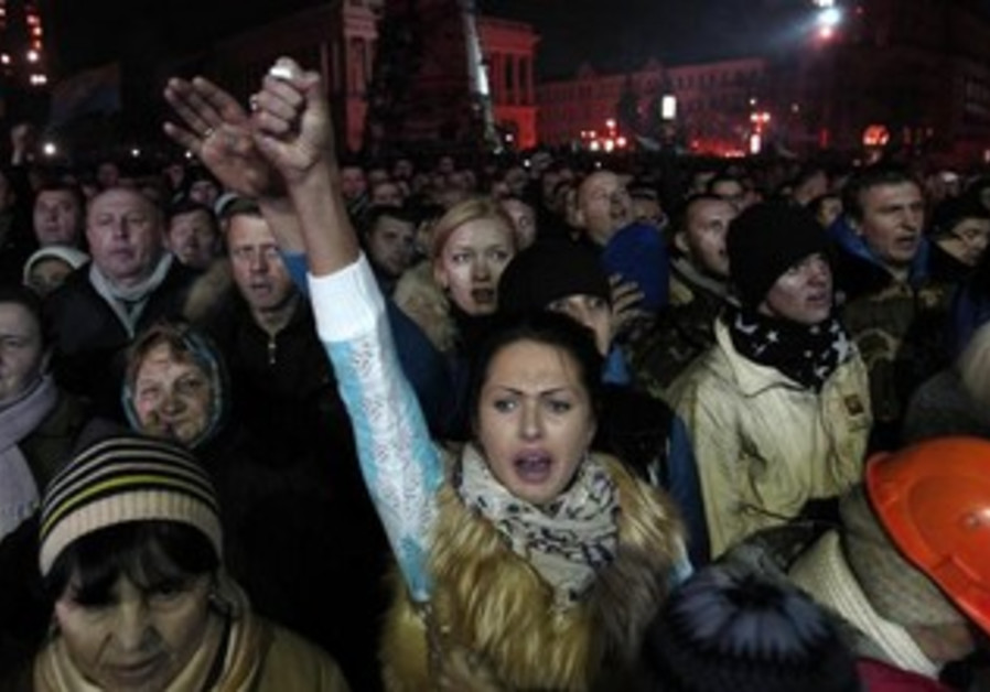Ukrainian protesters in Kiev demonstrate against the government.