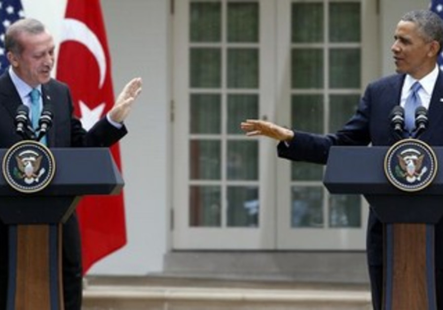 US President Barack Obama and Turkish PM Recep Tayyip Erdogan in Washington.