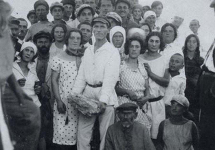 Jewish farmers from a Crimean collective celebrate the cornerstone laying for a new school in 1927