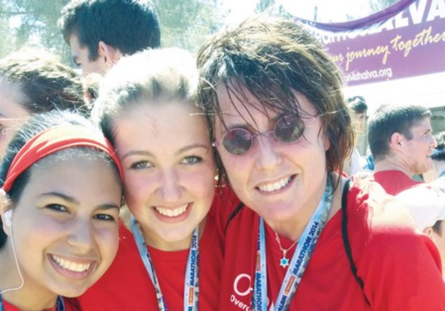 Kay Wilson (right) with members of the Team OneFamily at the Jerusalem Marathon.