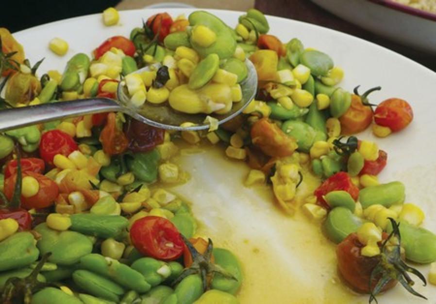FAVA BEAN and tomato salad