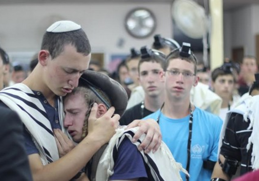 Prayer service for missing teens at Makor Chaim Yeshiva, June 15, 2014.