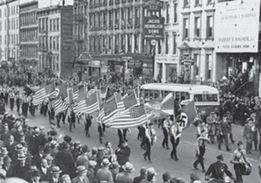 THE GERMAN AMERICAN BUND parade on NYC's East 86th St., on October 30, 1939.