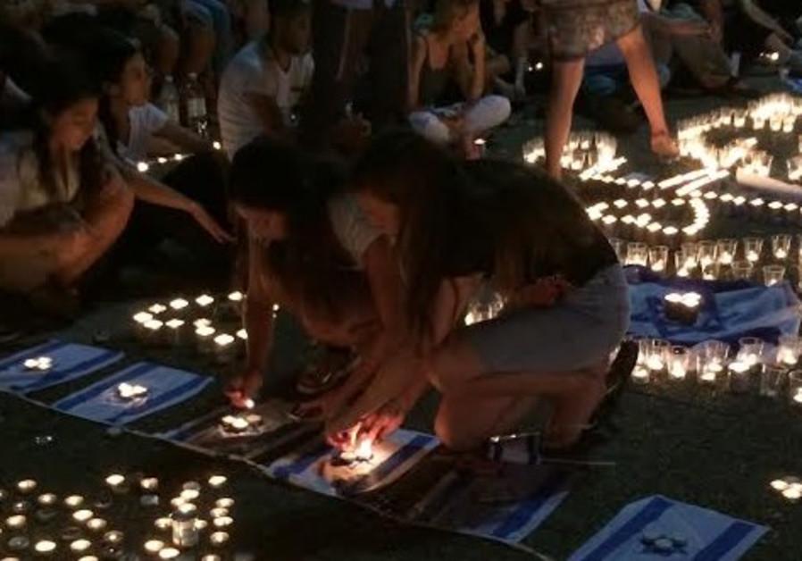 Candlelight vigil for murdered teens, Tel Aviv, June 30, 2014.