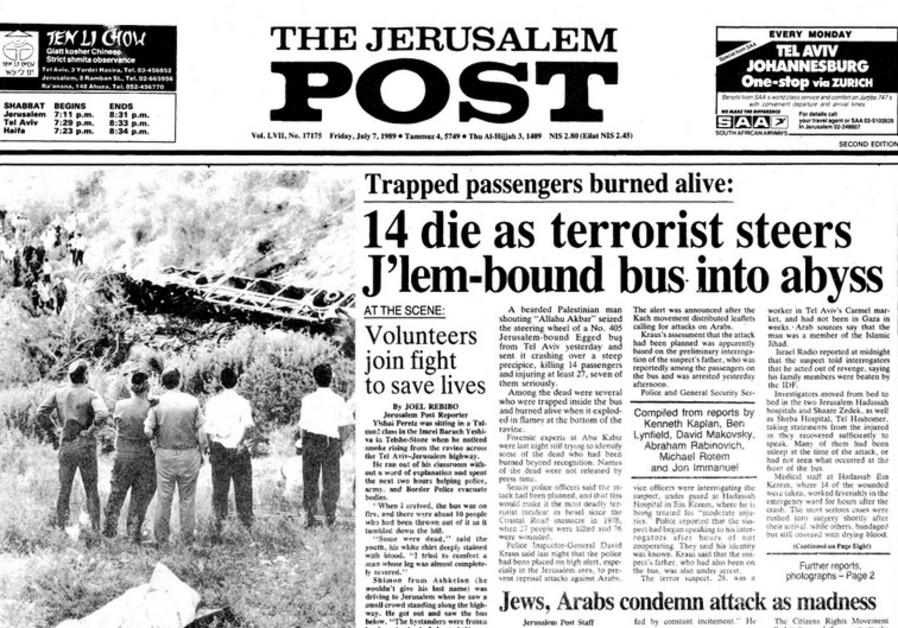 14 die as terrorist steers J'lem-bound bus into abyss