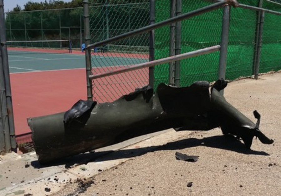 Debris from rocket at Rehovot community center, July 10, 2014.