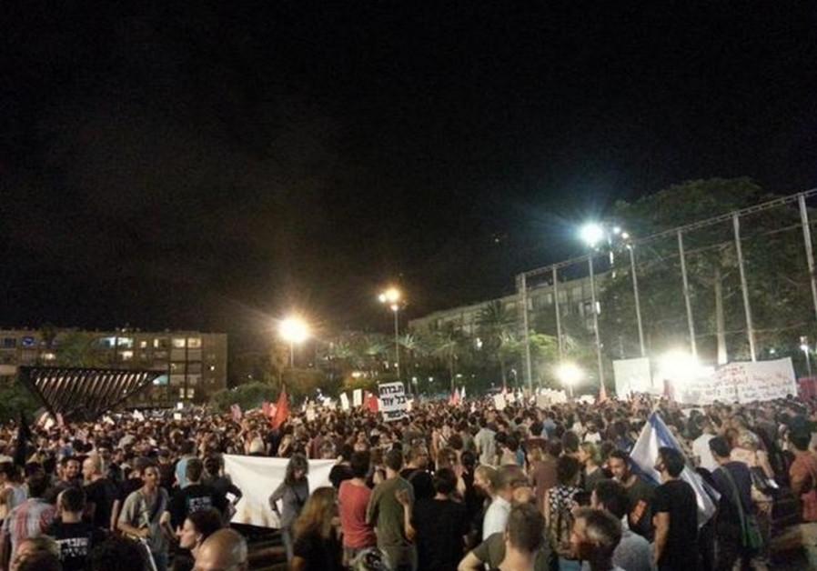Anti-war protest Tel Aviv, July 27, 2014.