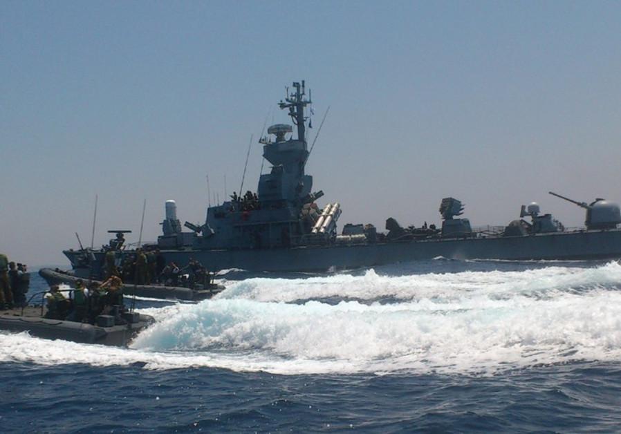 The navy patrols off the coast of Gaza on Monday