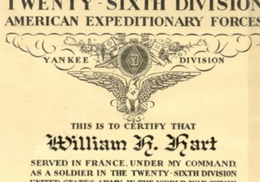 THE CITATION presented to William Hart by his commanding officer after the war.