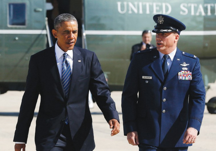 Barack Obama and US Air Force Col. Preston Williamson IV.