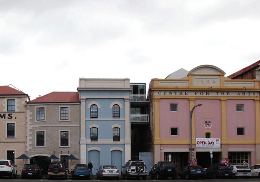 OLD BUILDINGS line a street in Hobart, Australia