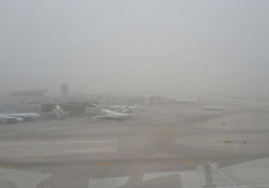 A view of Ben-Gurion Airport as dust storms descend on Israel