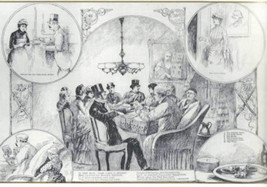 AN 1889 DRAWING of a Seder in New York City with the image of George Washington on the right