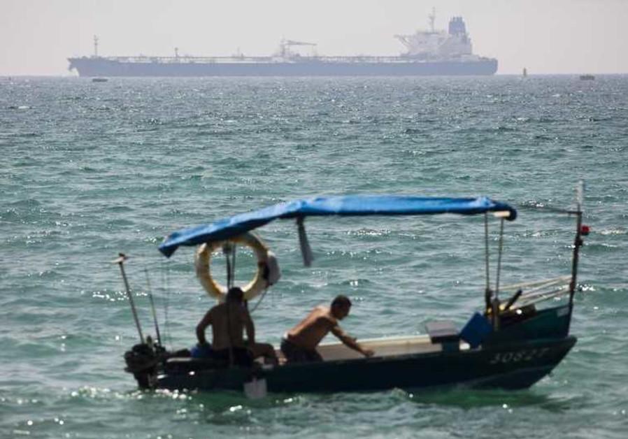 A Kurdish oil tanker is seen off the coast of Ashkelon