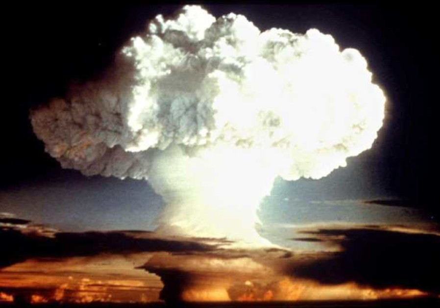 A nuclear test explosion from April 1954 is shown in this undatelined photo from the Pentagon