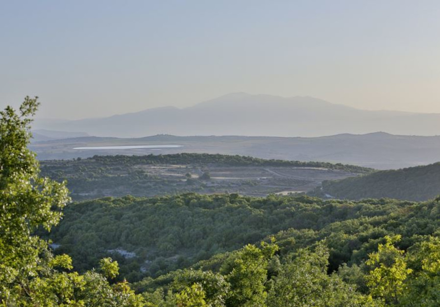 A view of Upper Galilee from Mount Hillel with Mount Hermon in the background