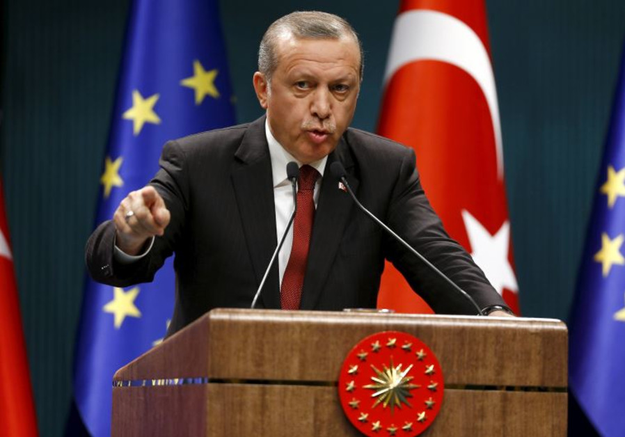 Turkish President Recep Tayyip Erdogan speaks during a news conference in Ankara