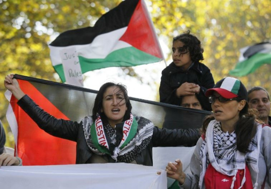 Pro-Palestine demonstrators calling for a boycott during a protest in Paris
