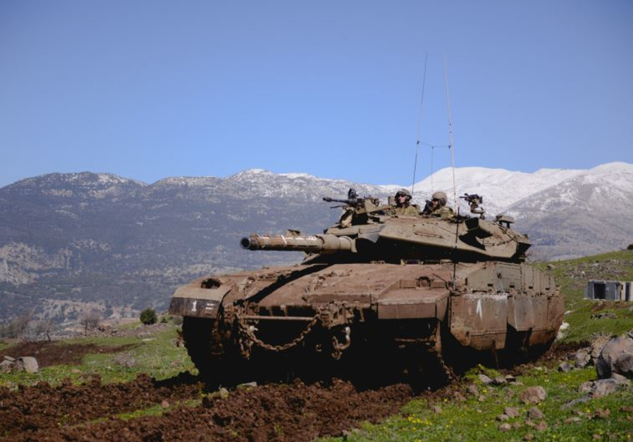 IDF Armored Corps soldiers train on the Golan Heights