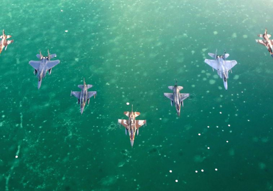 IAF fighter jets fly over the Dead Sea