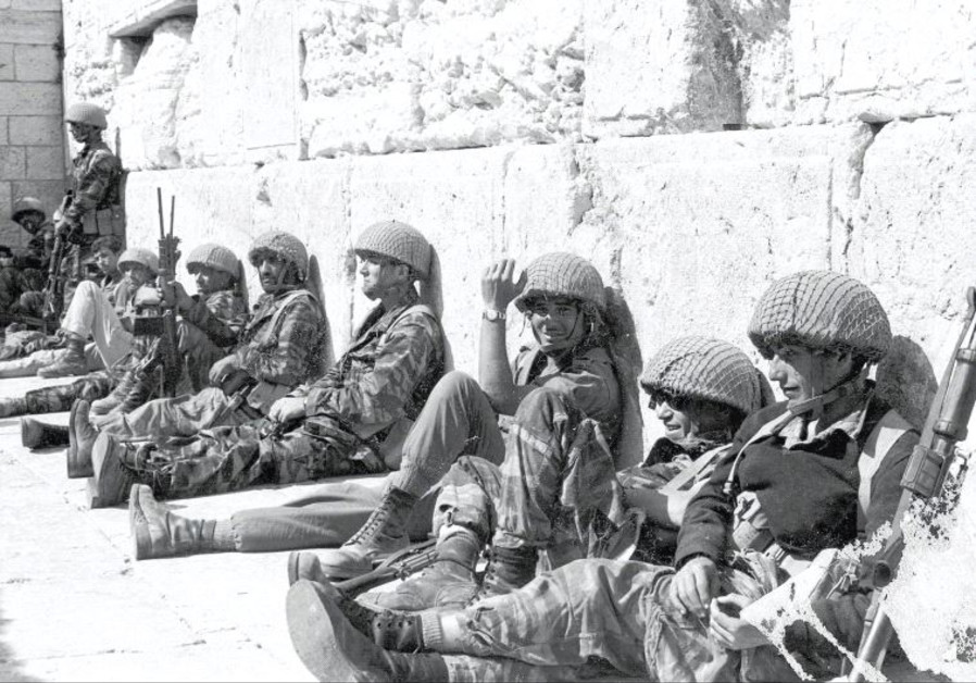 IDF Paratroopers relax after liberating the Western Wall during the Six Day War