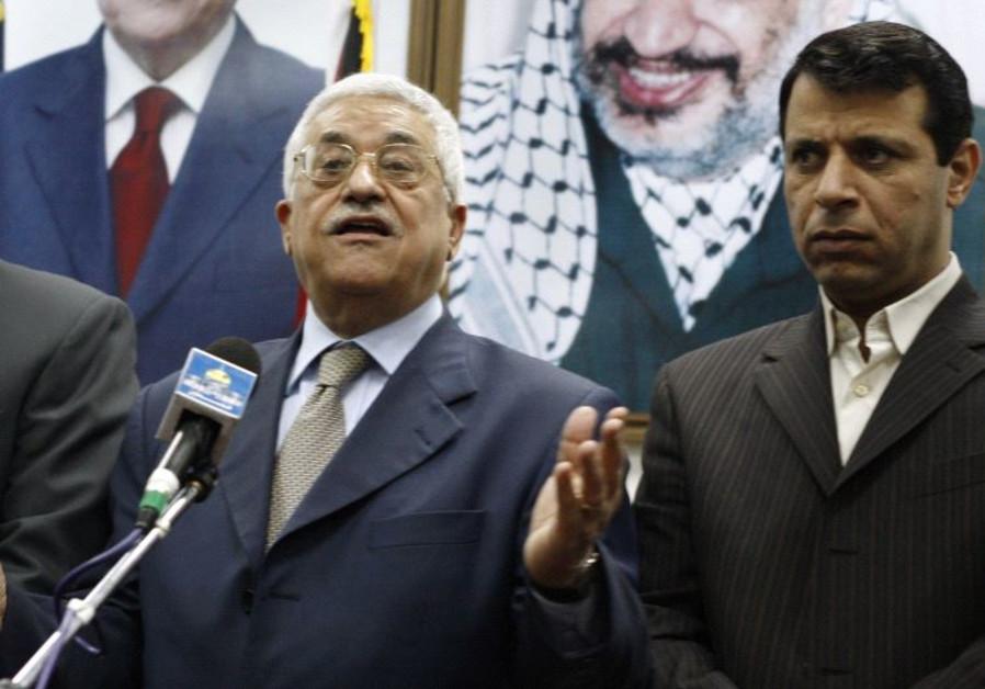 Palestinian President Mahmoud Abbas and Muhammed Dahlan