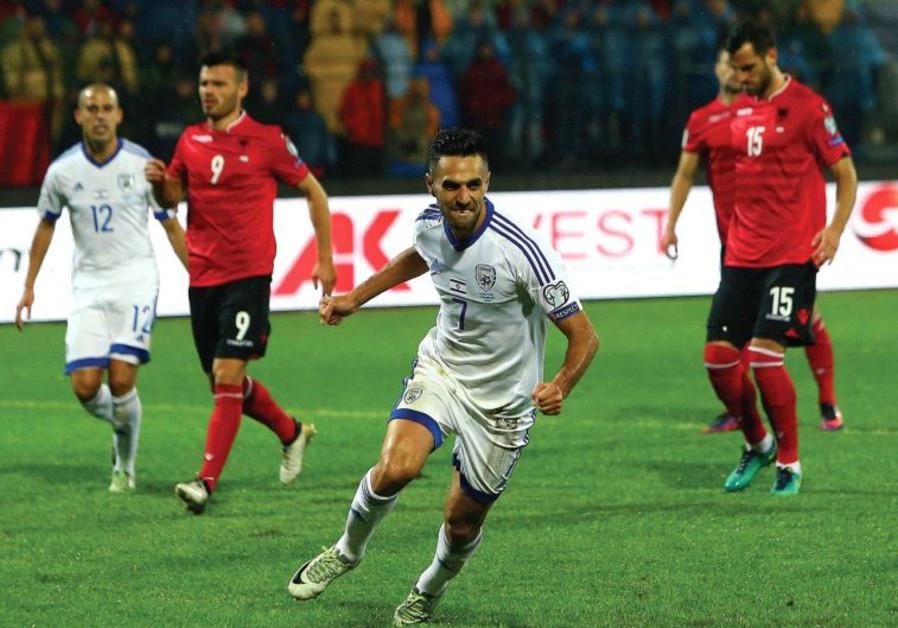 Israel captain Eran Zahavi celebrates after scoring the opener in last night's win at Albania in 201
