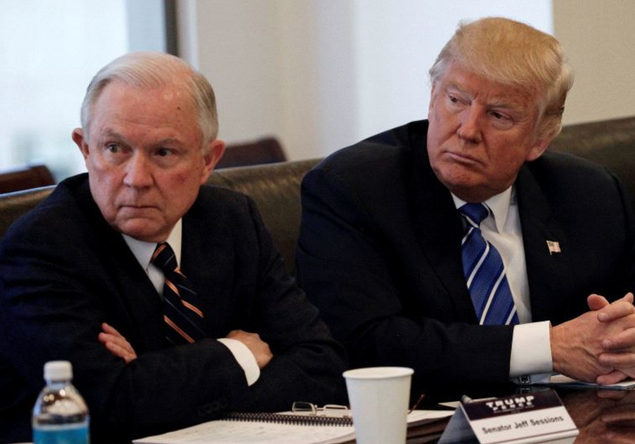 Donald Trump sits with Jeff Sessions at Trump Tower in Manhattan, New York