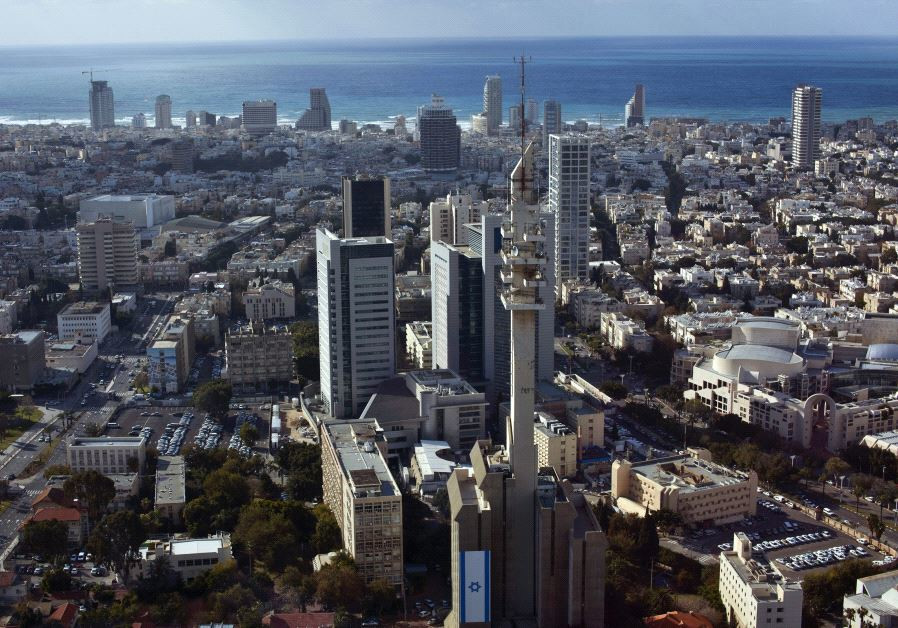 A general view shows central Tel Aviv backed by the Mediterranean Sea