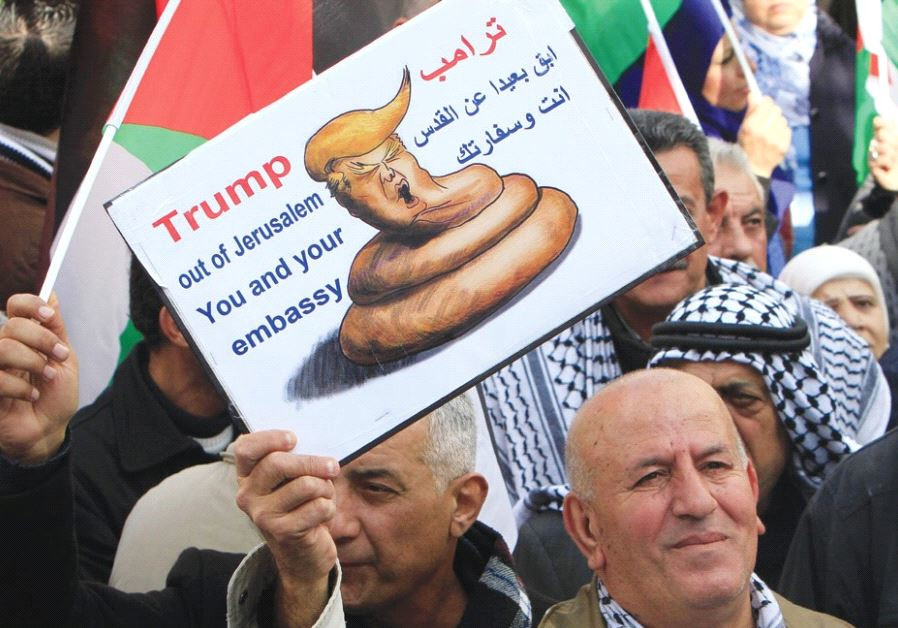 PALESTINIANS PROTEST in Nablus on Thursday against a promise by President Donald Trump to relocate t