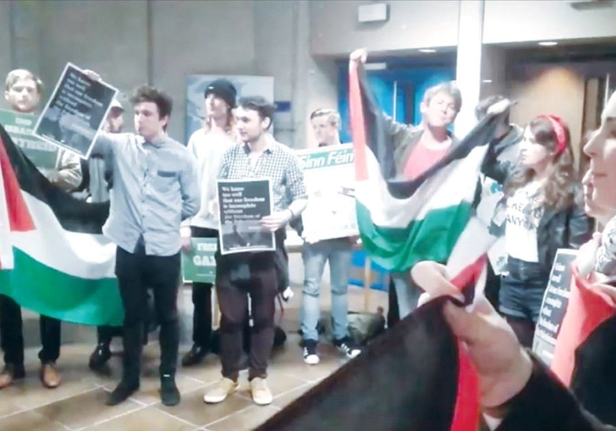 MEMBERS OF Students for a Just Palestine protest a scheduled lecture by Ambassador to Ireland