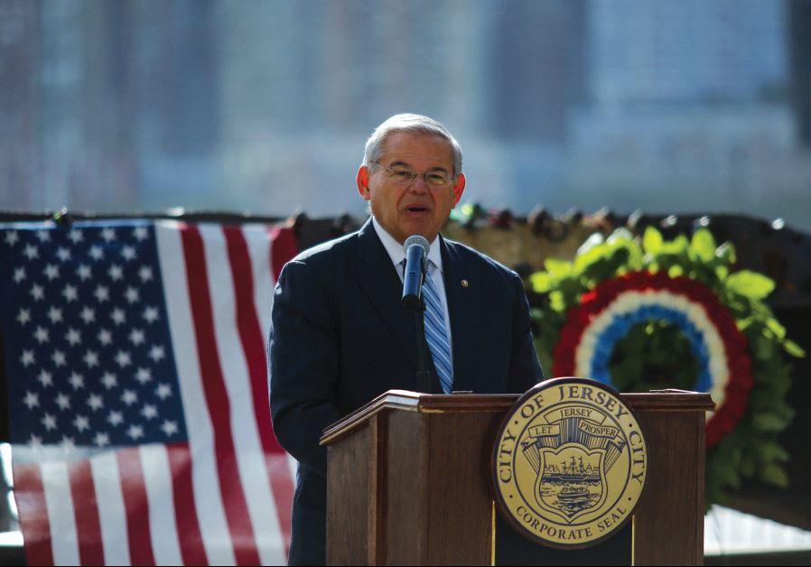 US SENATOR Robert Menendez speaks to the guests as he attends a ceremony for 9/11 victims in 2015.