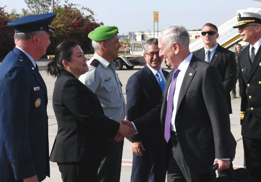 US DEFENSE SECRETARY Jim Mattis (right) arrives in Israel for a two-day visit yesterday
