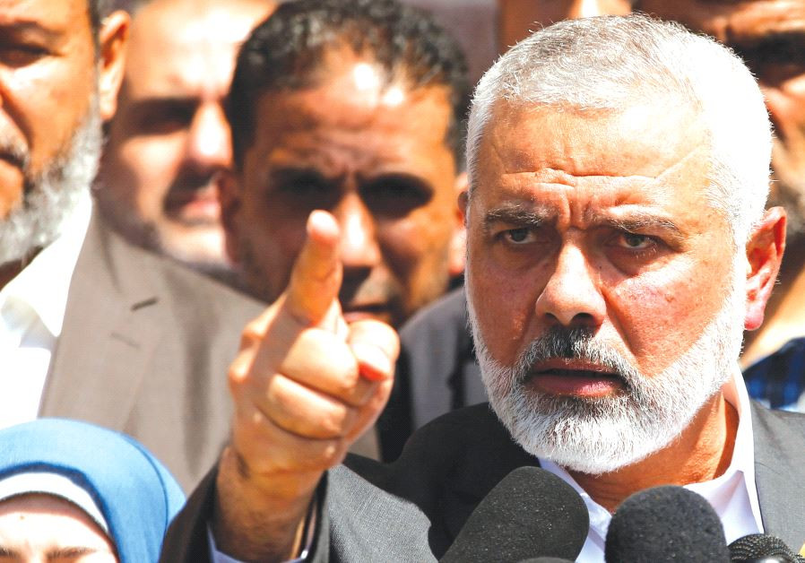 HAMAS LEADER Ismail Haniyeh gestures during a news conference in Gaza City earlier this month